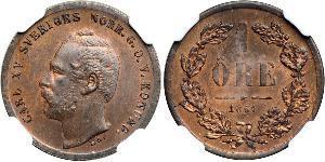 1 Ore 瑞典-挪威联盟 (1814 - 1905) 銅 卡爾十五世 (1826 - 1872)