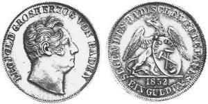 1 Gulden Grand Duchy of Baden (1806-1918) Argento Leopoldo di Baden(1790 – 1852)