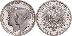 3 Mark 萨克森-魏玛-艾森纳赫 (1809 - 1918) 銀 威廉·恩斯特 (萨克森-魏玛-艾森纳赫)