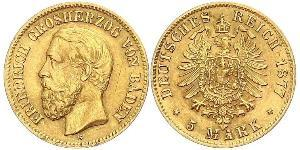 5 Mark Grand Duchy of Baden (1806-1918) Oro Federico I di Baden (1826 - 1907)