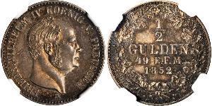 1 Gulden 普魯士王國 (1701 - 1918) 銀 腓特烈·威廉四世 (1795 - 1861)
