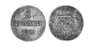 2 Пфенниг Королевство Бавария (1806 - 1918) Медь Людвиг I (король Баварии)(1786 – 1868)