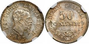 50 Centesimo Kingdom of Italy (1861-1946) Silber Victor Emmanuel II of Italy (1820 - 1878)
