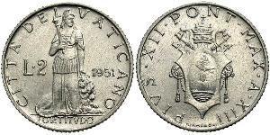 2 Lira 梵蒂冈 铝 Pope Pius XII  (1876 - 1958)