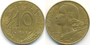 10 Centime French Fifth Republic (1958 - ) Brass