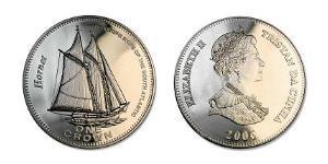 1 Крона(английская) Тристан-да-Кунья (острова) Никель/Медь Елизавета II (1926-)