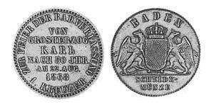 1 Kreuzer 巴登大公國 (1806 - 1918) 銅 弗里德里希一世 (巴登)