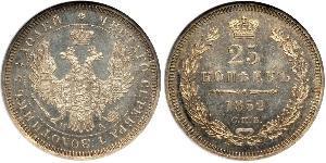 25 Copeca Impero russo (1720-1917) Argento Alessandro II (1818-1881) / Nicola I (1796-1855)