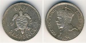 6 Penny Fidschi Silber George V (1865-1936)