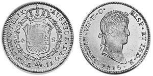 4 Эскудо Новая Испания (1519 - 1821) Золото Фердинанд VII король Испании (1784-1833)