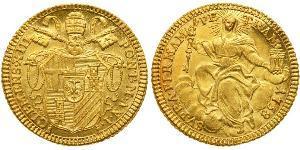 1 Zecchino Папская область (752-1870) Золото Климент XIII  (1693 -1769)