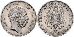 2 Mark Kingdom of Saxony (1806 - 1918) Silver Albert of Saxony