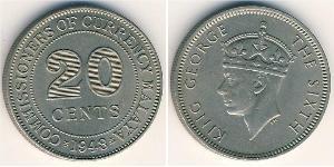 20 Цент Малайский Союз (1946 - 1948) Никель/Медь Георг VI (1895-1952)