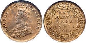 1/4 Anna Britisch-Indien (1858-1947) Bronze George V (1865-1936)