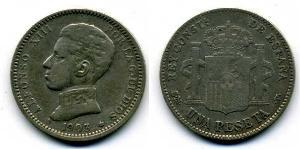 1 Peseta Kingdom of Spain (1874 - 1931) Argento Alfonso XIII of Spain (1886 - 1941)