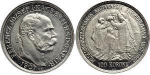 100 Korona Австро-Угорщина (1867-1918) Платина Франц Иосиф I (1830 - 1916)