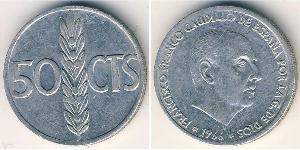 50 Centimo Francoist Spain (1936 - 1975) Aluminium Francisco Franco (1892 – 1975)