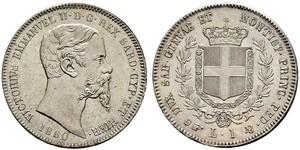 1 Lira Kingdom of Italy (1861-1946) Silber Victor Emmanuel II of Italy (1820 - 1878)