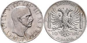 10 Lek Albanian Kingdom (1939-1943) Plata Víctor Manuel III de Italia (1869 - 1947)