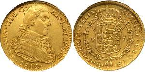 4 Escudo Spanish Mexico  / Kingdom of New Spain (1519 - 1821) Gold Ferdinand VII of Spain (1784-1833)