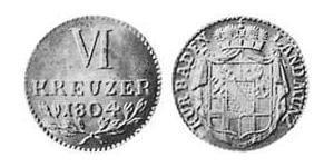 6 Kreuzer Gran Ducado de Baden (1806-1918) Plata