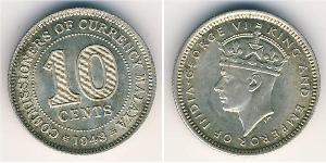 10 Cent Federated Malay States (1895 - 1946) Silver George VI (1895-1952)