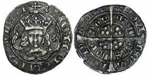 1 Гроут Королевство Англия (927-1649,1660-1707) Серебро Генрих VII (1457 - 1509)