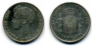 1 Peseta Kingdom of Spain (1874 - 1931) Silver Alfonso XIII of Spain (1886 - 1941)