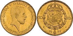 20 Krone Suède Or Gustave V de Suède (1858 - 1950)