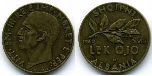 0,10 Lek Albanian Kingdom (1939-1943) Bronze/Aluminium Viktor Emanuel III. (Italien) (1869 - 1947)