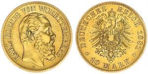 10 Mark Kingdom of Württemberg (1806-1918) Gold Charles I of Württemberg