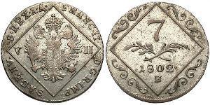 7 Kreuzer Sacro Romano Impero (962-1806) Biglione Argento Francis II, Holy Roman Emperor (1768 - 1835)