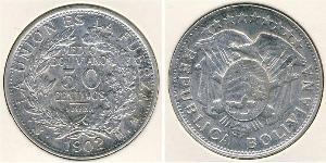 50 Centavo Bolivia (1825 - ) Plata