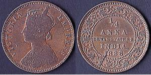 1/4 Anna British Raj (1858-1947)  Victoria (1819 - 1901)