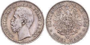 2 Mark Reuss-Greiz (1778 - 1918) Argento Enrico XIV di Reuss-Gera