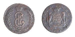 2 Копейка Российская империя (1720-1917) Медь Екатерина II (1729-1796)