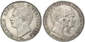 2 Thaler Königreich Württemberg (1806-1918) Silber Wilhelm I. (Württemberg)