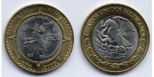 20 Peso México (1867 - ) Bimetal