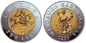 200 Litas Lituania (1991 - ) Oro/Argento