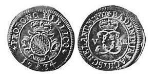 5 Kreuzer Margraviato di Baden-Durlach (1535 - 1771) Argento