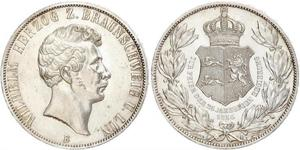 2 Thaler Ducato di Brunswick (1815 - 1918) Argento Guglielmo VIII di Brunswick