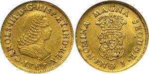 1 Escudo Virreinato de Nueva Granada (1717 - 1819) Oro Carlos III de España (1716 -1788)