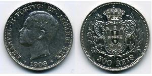 500 Reis Kingdom of Portugal (1139-1910) Silver Manuel II of Portugal (1889-1932)