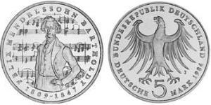 5 Mark Geschichte der Bundesrepublik Deutschland (1949-1990) Kupfer/Nickel