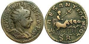 1 AE_ Roman Empire (27BC-395) Bronze Philip II (237-249)