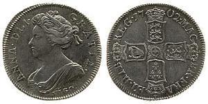 1 Shilling Reino de Gran Bretaña (1707-1801) Plata Ana de Gran Bretaña(1665-1714)