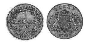 1 Kreuzer Grand-duché de Bade (1806-1918) Cuivre Frédéric Ier de Bade (1826-1907) (1826 - 1907)