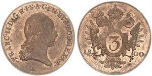 3 Kreuzer Monarchia asburgica (1526-1804) / Sacro Romano Impero (962-1806) Rame Francis II, Holy Roman Emperor (1768 - 1835)