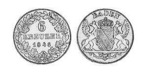 6 Крейцер Велике герцогство Баден (1806-1918) Срібло