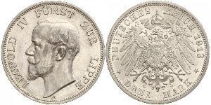 3 Mark Principality of Lippe (1123 - 1918) Silver Leopold IV, Prince of Lippe